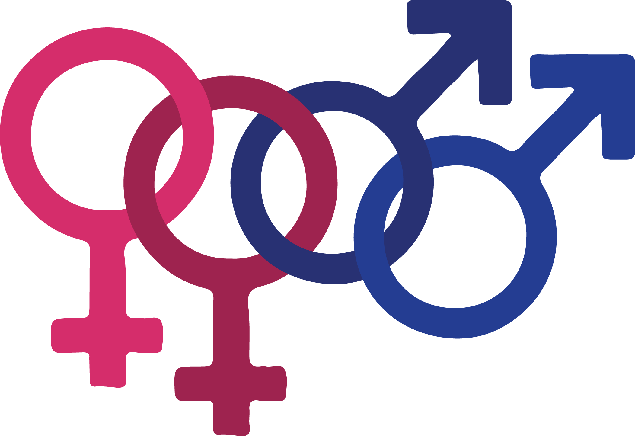 Pink and blue interlocking gender symbols