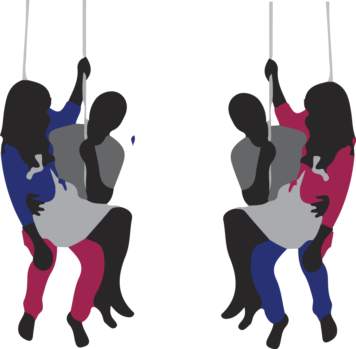 2 sets of couples swapping partners while on swing sets