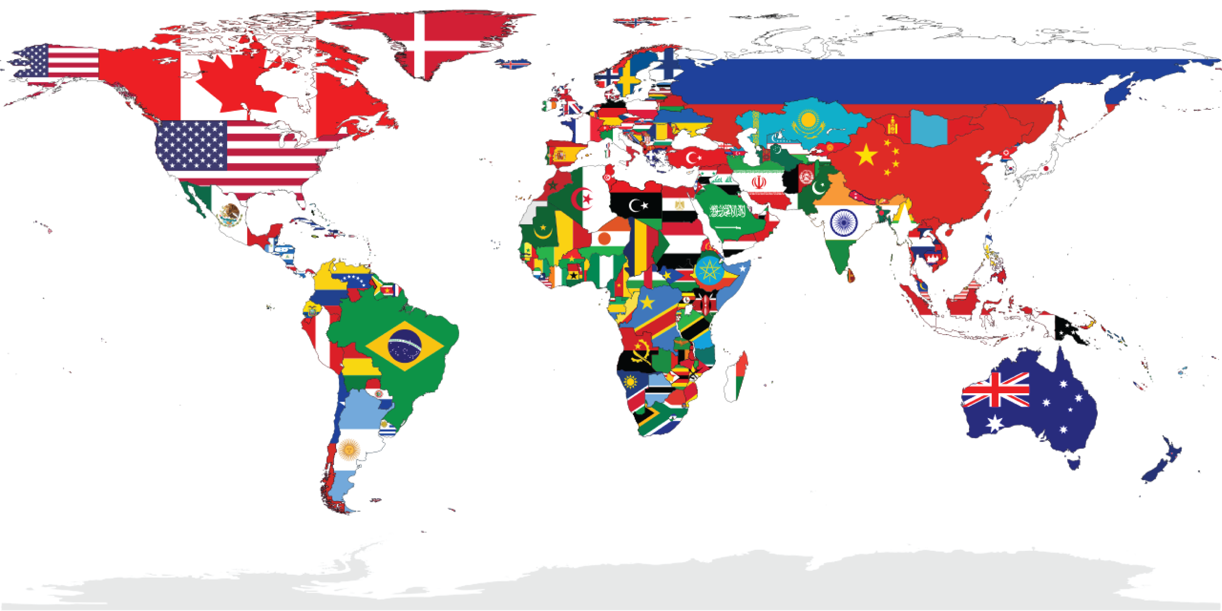 Different nations flags on a map